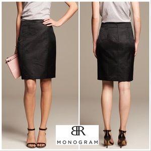 BR Monogram NWOT Black Shine etched pencil skirt 4